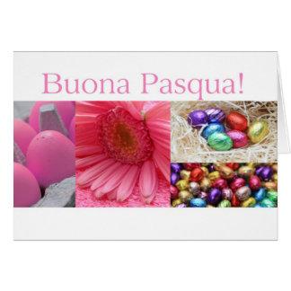 Collage rosado de saludo de Pascua del italiano Felicitaciones