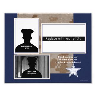 Collage temático militar azul de la foto