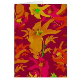 Collage tropical hawaiano de los lirios del estilo tarjeta de felicitación