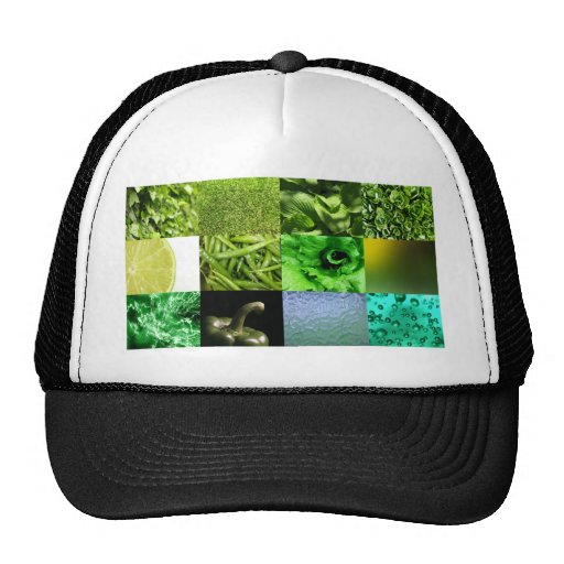 Collage verde de la foto gorra