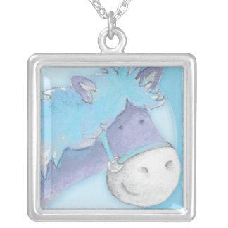 Collar azul del arte de la acuarela del caballo