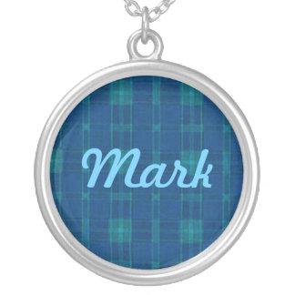 Collar azul del nombre de la tela escocesa