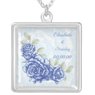Collar azul del personalizado de los rosas del