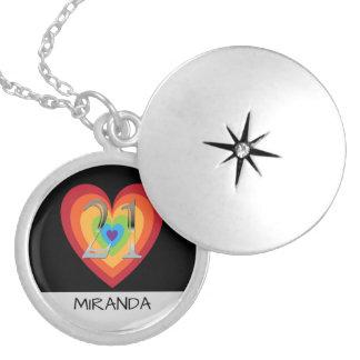 Collar Con Colgante 21ro nombre personalizado del corazón del arco