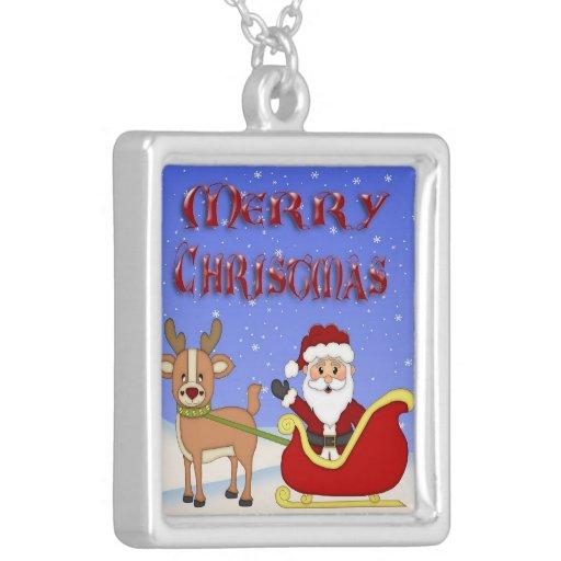 Collar cuadrado de Santa de las Felices Navidad