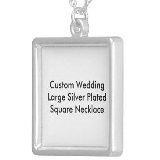 Collar cuadrado plateado plata grande de encargo