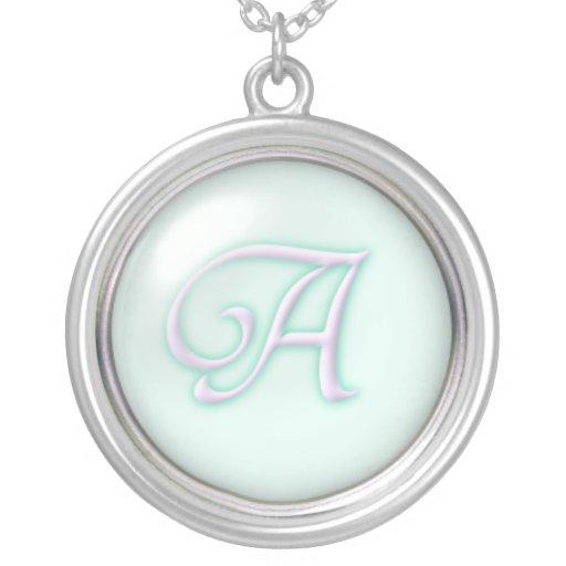 Collar de cristal azul del monograma - letra A