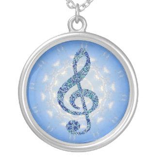 Collar de la nota de la música - Clef agudo azul