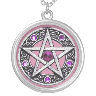 Collar de la plata, púrpura y rosado del Pentagram