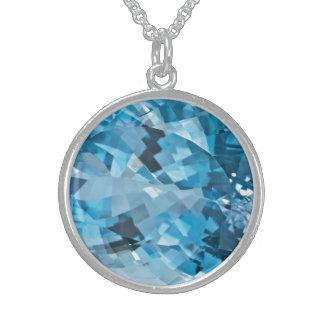 Collar De Plata De Ley Aquamarine azul claro marzo Birthstone de la