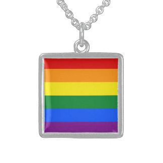 Collar De Plata De Ley Bandera del arco iris