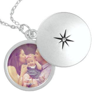Collar De Plata De Ley Locket de la foto del recuerdo de la familia