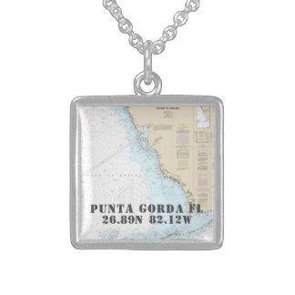 Collar De Plata De Ley Longitud de la latitud de la ciudad de Punta Gorda