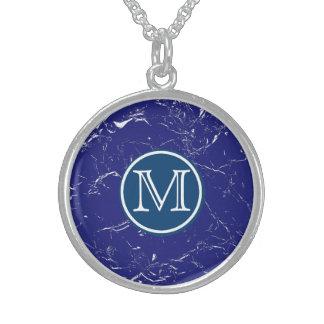 Collar De Plata De Ley Monograma de mármol azul