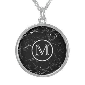 Collar De Plata De Ley Monograma de mármol negro