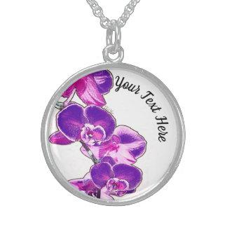 Collar De Plata De Ley Orquídeas personalizadas