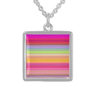Collar De Plata De Ley Personalice - el fondo multicolor de la pendiente