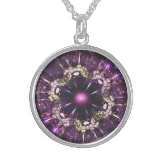 Collar De Plata De Ley Purple Flower