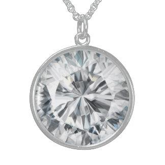Collar De Plata De Ley Textura chispeante abril Birthstone del diamante
