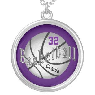 Collar de plata del baloncesto sus COLORES y TEXTO