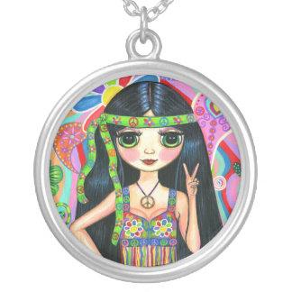 Collar del chica del Hippie del signo de la paz