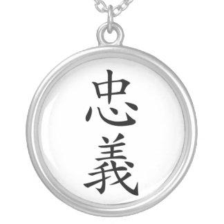 Collar del kanji de la lealtad de Bushido del