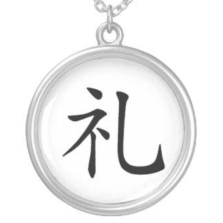 Collar del kanji de la moralidad de Bushido del