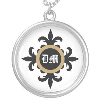 Collar del personalizado del monograma de la flor