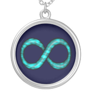 Collar del símbolo del infinito de las azules turq