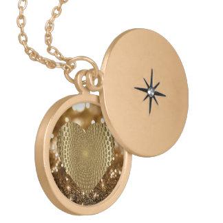 Collar Dorado Brillo de Bokeh del corazón prismático de oro