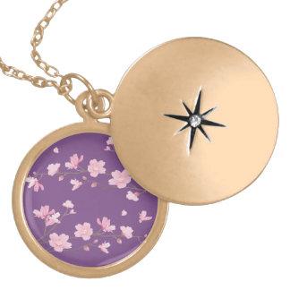 Collar Dorado Flor de cerezo - Transparente-Fondo