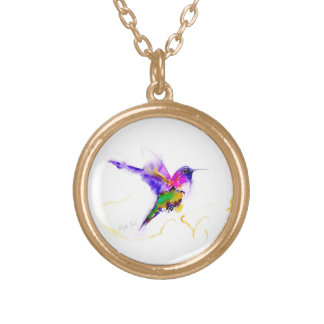 """Collar Dorado Impresión del colibrí de la """"resplandor púrpura"""""""