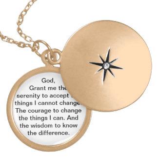 Collar Dorado Locket del rezo de la serenidad