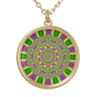 Collar Dorado Mandala púrpura amarilla verde del modelo del