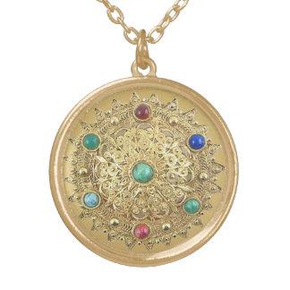 Collar Dorado Medallón Jeweled