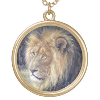 Collar dorado redondo grande del león