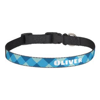 Collar Para Mascotas Cuello de perro azul de encargo de la tela