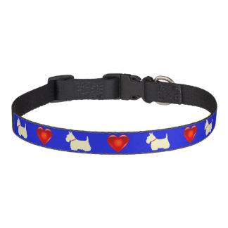 Collar Para Mascotas Escocés Terrier, escocés, azul, corazón rojo