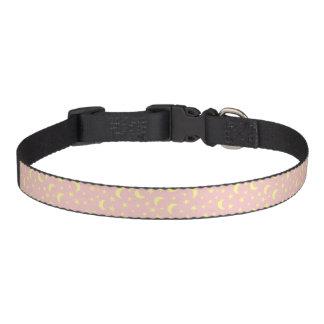 Collar Para Mascotas Fondo rosado de la luna y de las estrellas