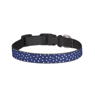 Collar Para Mascotas Modelo de puntos del confeti de los azules marinos