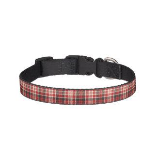Collar Para Mascotas Modelo rojo y negro de la tela escocesa