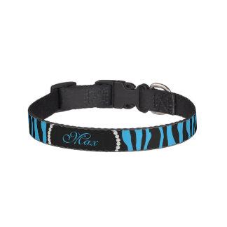 Collar Para Mascotas Monograma azul elegante del nombre de la perla del