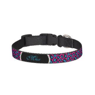 Collar Para Mascotas Monograma rosado del *NEW* y azul elegante del