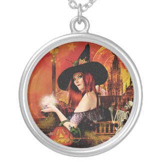 Collar pendiente de plata redondo de la bruja mági