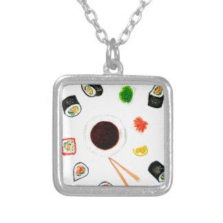 Collar Plateado Acuarela determinada del sushi