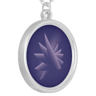 Collar Plateado Alas violetas
