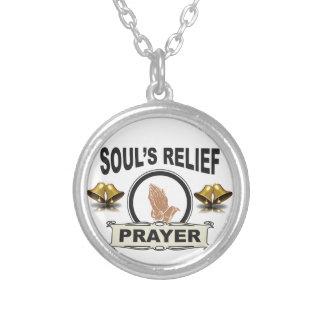 Collar Plateado alivio del alma del anillo