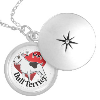 Collar Plateado Amo mi bull terrier divertido y lindo adorable