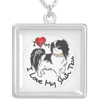 Collar Plateado Amo mi perro de Shih Tzu