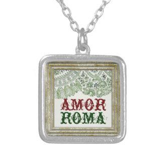 Collar Plateado Amor Roma con el cordón verde